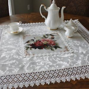 NEW Tablecloth FLORAL BIRDS & LACE Jacquard Square